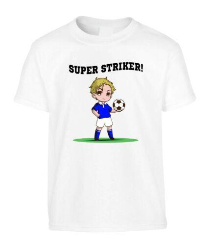Football Kids T-Shirt Forward Striker Blue White Kit Soccer Birthday Gift Team
