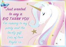 personalised unicorn childrens birthday thank you notes cards girls