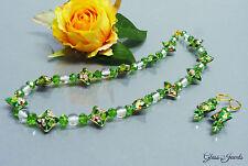 Glass Jewels Gold Halskette Collier Ohrringe Cloissonne Glasperlen  #F002