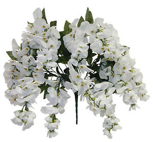 White wisteria bush 14 blooms silk flowers wedding arch decoration image is loading white wisteria bush 14 blooms silk flowers wedding mightylinksfo