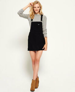 New-Womens-Cord-Dungaree-Dress-Black