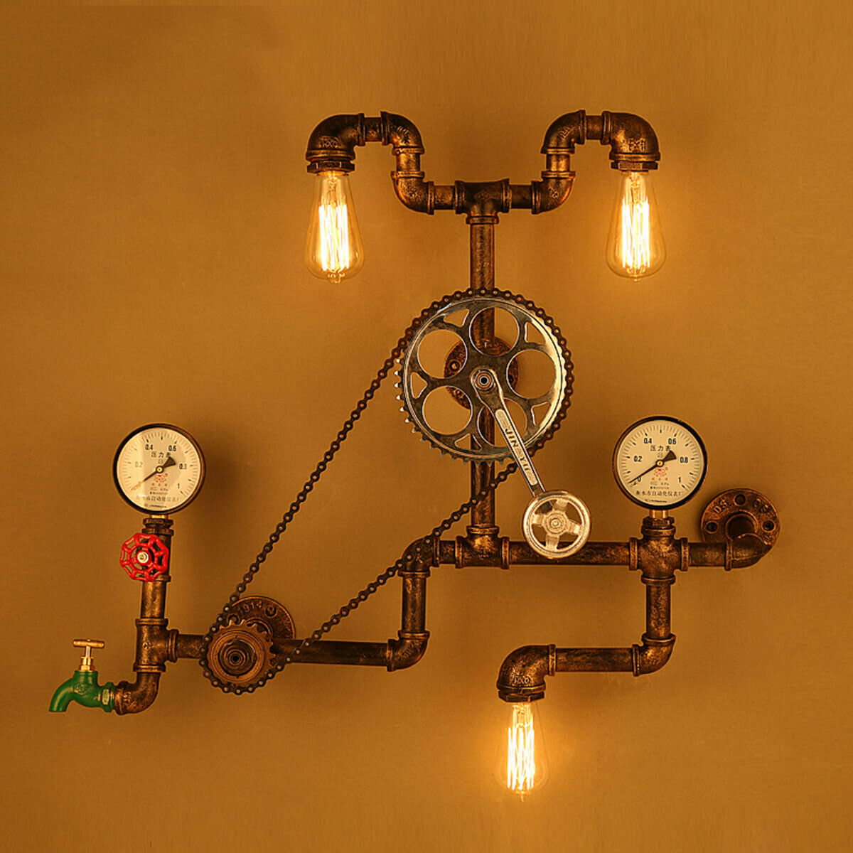 Industrial Retro Iron Pipe Wall Lamp Bike Chain Loft Light Gauge Switch Water