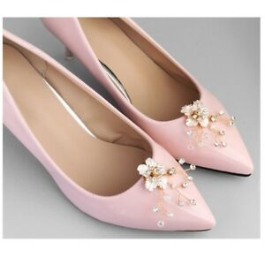 16fcb22e39 Details about 1Pair/lot Flower Pearl Rhinestone Crystal Wedding Bridal Shoe  Clips