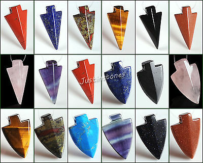 35mm & 38mm Arrowhead pendant gemstone beads 2mm Big Side hole 2 Style
