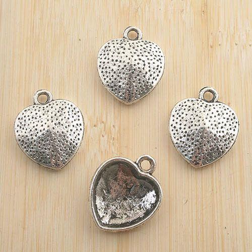 10pcs antiqued silver heart shape pendant G1115