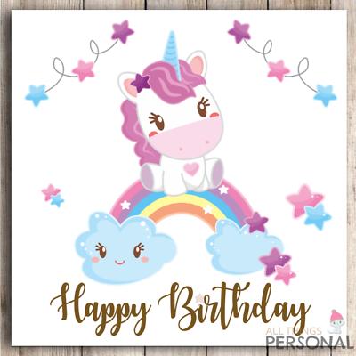 Handmade personalised Baby unicorn birthday card girls 1st//2nd//3rd//4th daughter