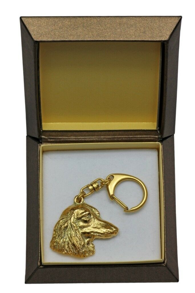Dachshund type 3  gold covered keyring with dog, box, high quality, Art Dog
