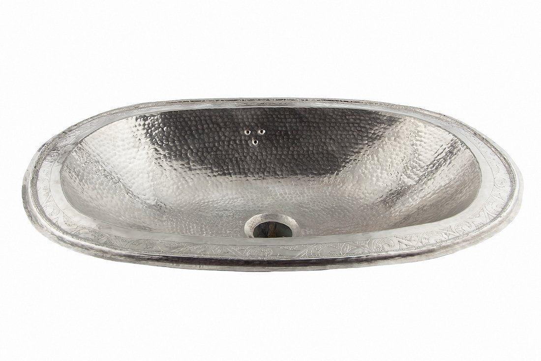 Argent Ovale Fait Main Marocaine évier bassin, martelé-gravé L39x31 H12 CM