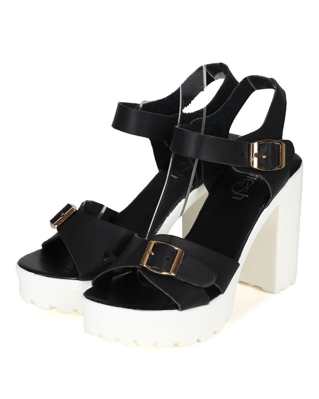 New Women Refresh Gaga-3 PU Open Toe Ankle Sandal Strap Platform Chunky Heel Sandal Ankle ed1ffd