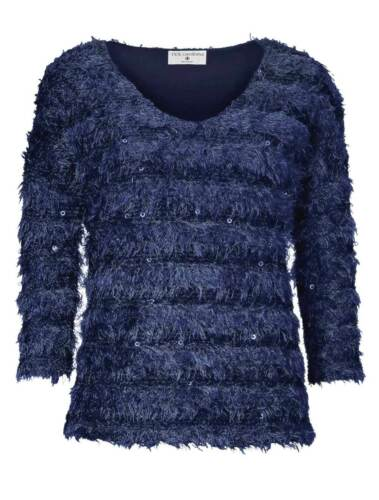 Rick Cardona Designer Pullover mit Pailletten blau Pulli Strick Gr 36 46 48 50