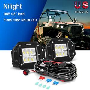 Nilight-2x-18W-4-034-Inch-LED-Work-Light-Bar-Driving-Fog-Lamp-OffRoad-ATV-SUV-4WD-5-034