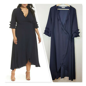 [ COOPER ST ] Womens Bridgette Wrap Dress In French Navy | Size AU 18 or US 14