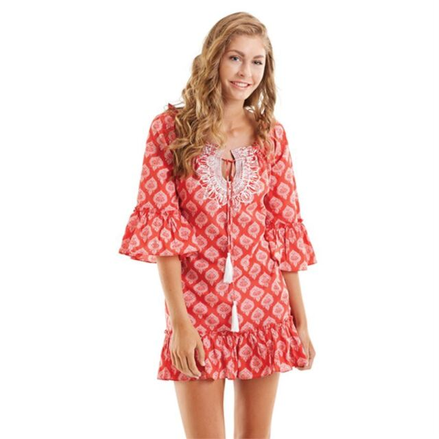 c48439ad224 Mud Pie Hailey Ruffle Swimsuit Cover Up Red Jaipur Small, Medium, Large NEW