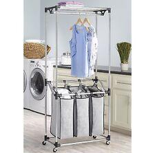 rolling laundry cart sorter hamper 3 bag washing clothes bin storage basket rack