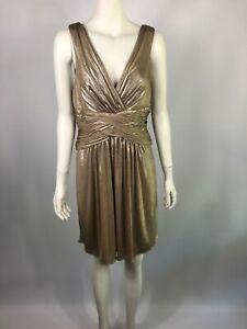 NEW-BCBG-MAXAZRIA-size-M-10-12-gold-gorgeous-cocktail-dress-RRP-490