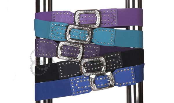 100% Verdadero Liquidación Elástico Cinturón Con Tachuelas Hebilla Incluye Circones Cinturilla