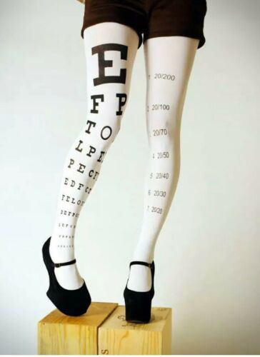 Ladies White Eye Test Printed Tights Opaque 10-14 Letter Alphabet sight  FLIRT