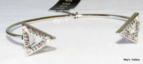 GUESS Jeans Rhinestones  Bangle  Bracelet Logo Silver Tone Triangle Charms Cuff