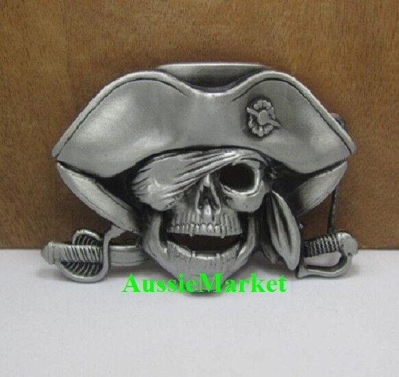 1 x mens ladies belt buckle jeans pirate skull sword eye patch metal fancy dress