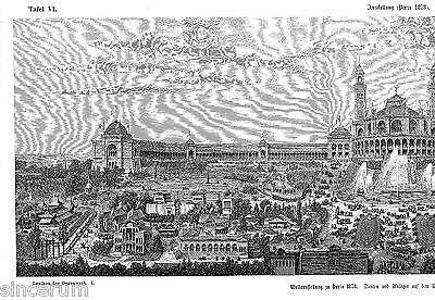 Paris 1878 Weltausstellung Gr. Orig. Xylographie 1881 (doppeltafel) Trocadero Eleganter Auftritt