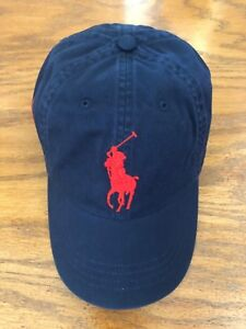 3a1341476 POLO RALPH LAUREN NAVY CHINO RED BIG PONY 6 PANEL SPORT HAT COTTON ...