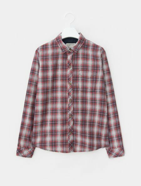 Current Elliott NWT Woherren rot Plaid The Slim Boy Shirt, Größe 3 (Large)