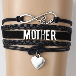 Multilayer-Charm-Bracelet-Love-Mom-Mother-039-Gift-Leather-Bangle-Rope-Chain-Link