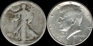 1-00-Face-1964-Kennedy-amp-Walking-Liberty-Half-90-SILVER-039-Circulated-039-Coins