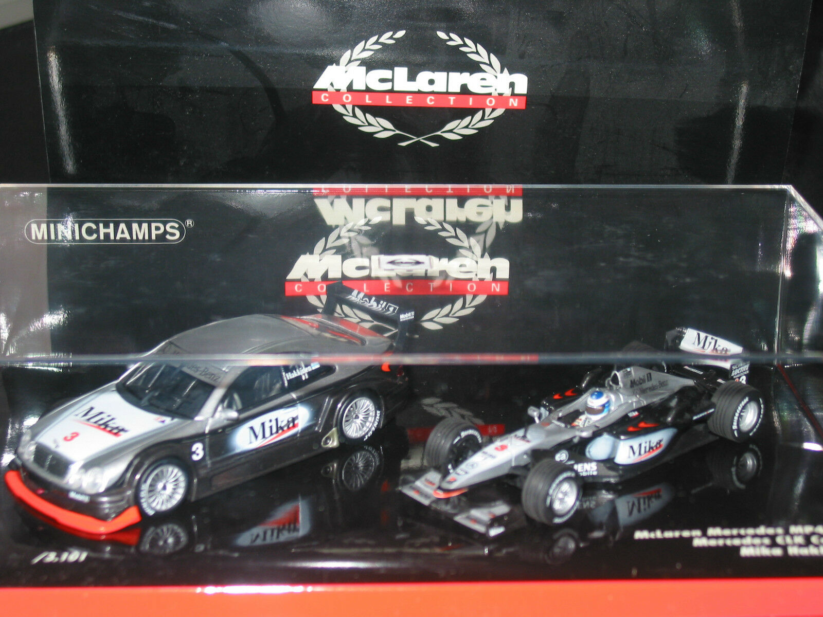 HAKKINEN  - MCLAREN COLLECTION Mercedes CLK & MP4 VERY RARE MINT BOXED 1 43