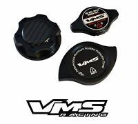 Vms Oil Cap + High Pressure Radiator Cap + Billet Cover Black For Subaru D