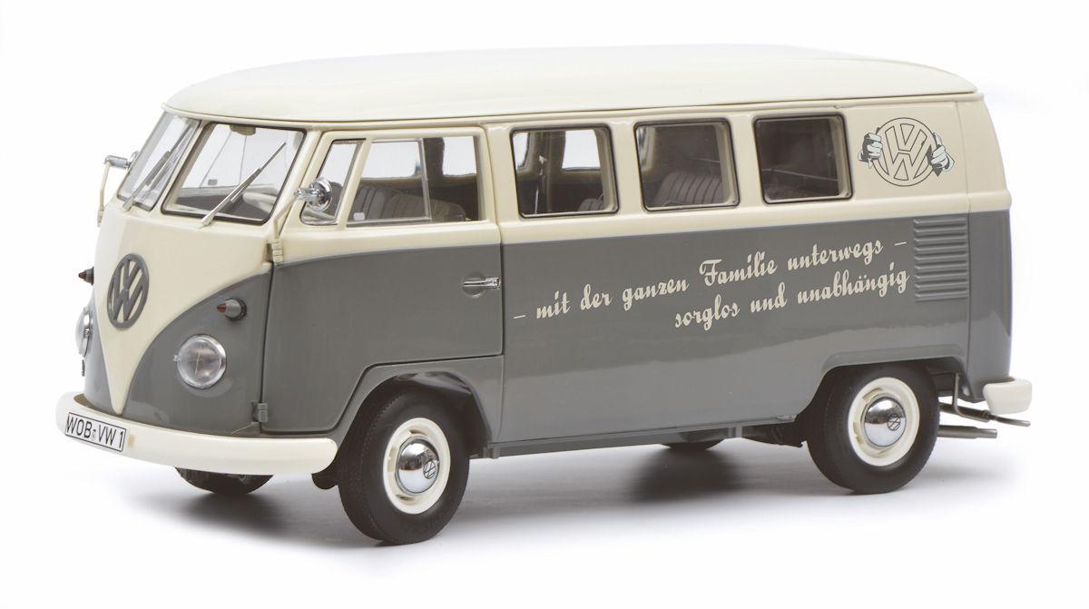 Schuco in esclusiva VW t1b BUS GRIGIO/BIANCO  con tutta la famiglia in viaggio  LED 300