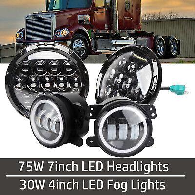 Projector Headlamp 7/'/' LED Headlights Halo Fog Light For FREIGHTLINER Combo