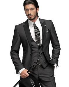 Silm Fit Best Man Suit Charcoal Grey Groomsman Men\'s Wedding/Prom ...