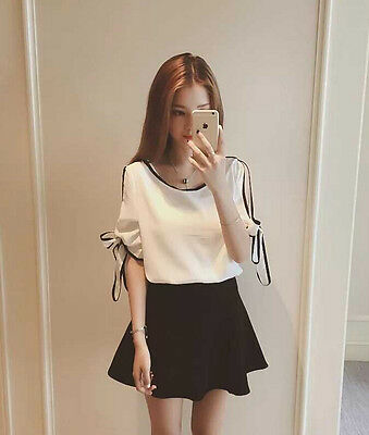 Fashion Korean Women Casual Chiffon Loose Solid Short Sleeve Tunic T Shirt Tops