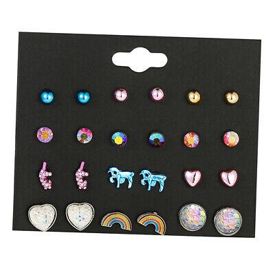 12 Pairs Cute Unicorn Earrings Animals Hypoallergenic Stud Earrings Sets Girls