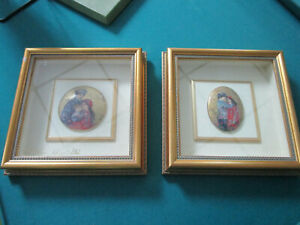 EDNA-HIBEL-HAND-PAINTED-PAIR-OF-PLAQUES-FRAMED-AND-DEDICATED