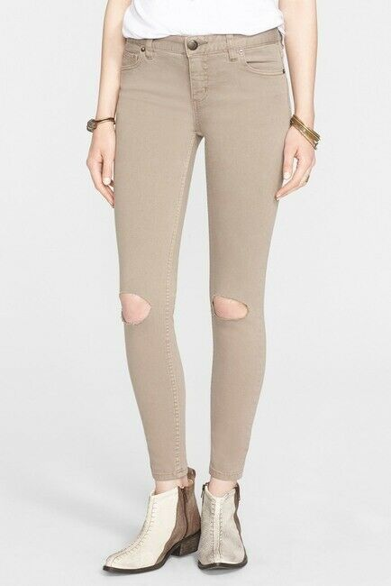 NEW Free People Destroyed Mid-Rise colord Skinny Jeans OB429505 Sz 25