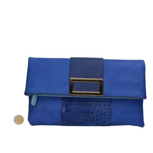 borsa donna OLTRE pochette pelle blu AR467