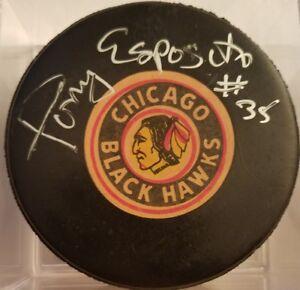 TONY-ESPOSITO-HOF-SIGNED-VICEROY-NHL-VINTAGE-HOCKEY-CHICAGO-BLACKHAWKS-GAME-PUCK