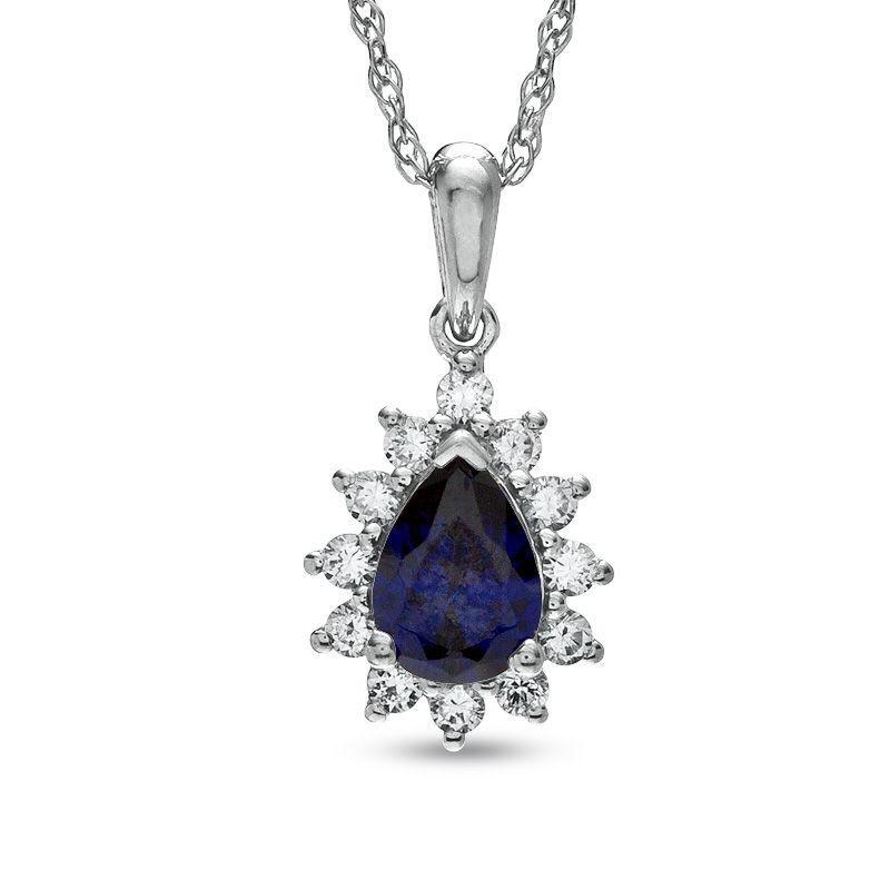 Lab-Created blueee White Sapphire September Gem Birthstone Pendant 10K White gold
