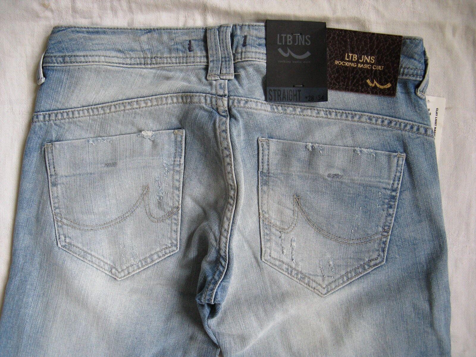 LTB CLAY donna blu blu blu jeans w28 l34 STRETCH X-LOW WAIST Regular Fit Straight Leg bafc32