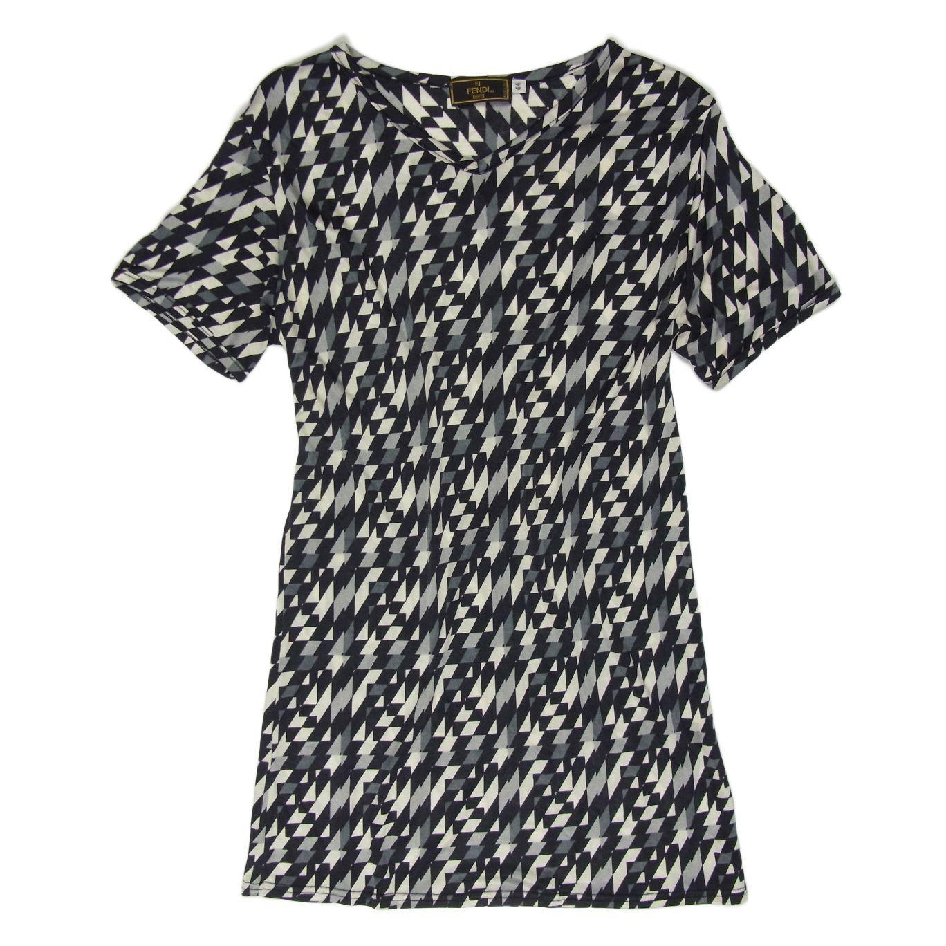 Auth FENDI Logos Stripe Pattern Stretchable Shirt Top Sz 44 US L F S 376