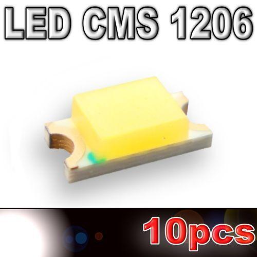 650mcd 104//10# LED CMS 1206 blanche SMD white 10pcs