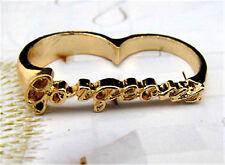 Gold tone word gorgeous double finger ring UK Size M O