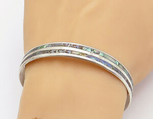 TAXCO-925-Sterling-Silver-Vintage-Abalone-Striped-Inlay-Bangle-Bracelet-B8063
