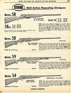 Details about 1962 Print Ad of Stevens Model 58 58AC 59 & 54 Bolt Action  Shotgun