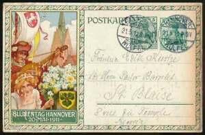 D-Reich-Privatpostkarte-PP-27-C130-Blumentag-Hannover-1911-H0010
