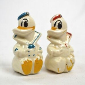 Vintage 1940\u2019s Donald Duck Salt and Pepper Shakers Disney Collectible Ceramic Donald Duck White Yellow and Blue Salt and Pepper Shakers