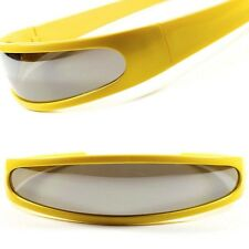 Space Alien Robot Costume Party Cyclops Mirrored Futuristic Yellow Sun Glasses