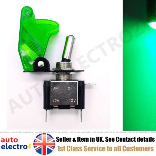 illuminated LED Toggle Switch Missile Style Flick Cover Car Dash 12V ON//OFF SPST